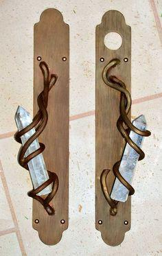 Door Pull -Crystal And Steel Modern Elegance- HH028