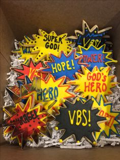 These cookies make great teacher thank you gifts for VBS Hero Central! Use the Hero Cookie Cutter to create this box of fun...be a baking hero at your VBS! cokesburyvbs.com