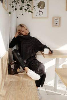 White sneakers // leather leggings // oversized sweater // Louis Vuitton // The Haute Pursuit