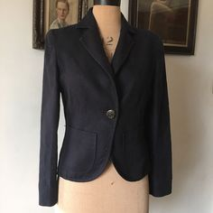 UK SIZE 10 WOMENS HOBBS NAVY BLUE LINEN JACKET REVERE COLLAR POCKETS