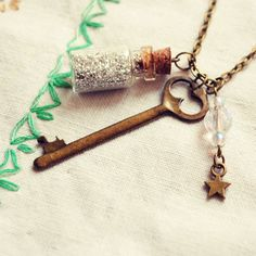 Glass Bottle Necklace with Silver Glitter, Skeleton Key, Glass Beads and Tiny Star by Dear Delilah