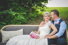Wedding Photography, Bride and Groom with a couch outside.