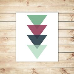 Mint Green, Hunter Green, Triangle Art, Geometric Print, Abstract Print, Typographic Print, Typography, Dorm Decor, Home Decor, Office Decor