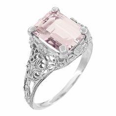 Filigree Emerald Cut Morganite Edwardian Platinum Engagement Ring (reproduction) Stunning!