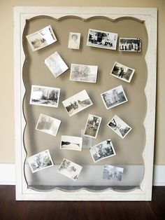Window screen for displaying old photos or postcards (using bent straight pins)(from Salvaged Curiosities)