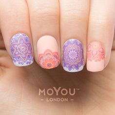 By decoradas con mandalas For many of us, the lasting charm of nail art is that we can express our pleasures (no matter how wild or repressed) without the aesthetic boundaries of hair and. Fabulous Nails, Gorgeous Nails, Love Nails, Pretty Nails, Style Nails, Uñas Jamberry, Nail Art Designs, Mandala Nails, Nail Art Images