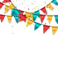 Abstract vector celebration background with colorful buntings and confetti. This daylight vector image is customizable and includes some vector and confetti in Birthday Background Design, Wedding Photo Background, Confetti Background, Smoke Background, Best Photo Background, Studio Background Images, Banner Background Images, Theme Background, Background Images Wallpapers