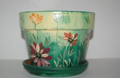 Hand Painted 7 '' wide clay flower pot Beautiful by MountBlossom