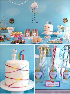 Rainbow Party, sweets and candy table - hanging clouds, rainbow hearts