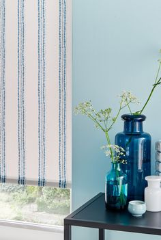 Add a nautical touch to your interiors with the help of a vertical stripe. Our Candra Dark Teal Roller blind is the perfection addition to a blue themed room. Made To Measure Blinds, Dark Teal, Blue, Blinds For Windows, Room Themes, The Help, Nautical, Glass Vase