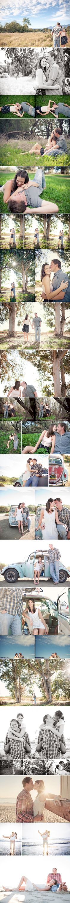 Bug Photography session vintage car engagement Carpinteria beach engagement session Marianne Wilson Photography