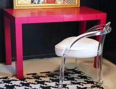 love the neon pink desk