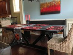 7 ft. Chavers X trestle style farm table in Ebony and all decked out for Halloween!  Thanks Celeste for sharing!  Come follow us on Facebook at www.facebook.com/...