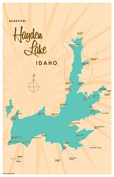Hayden Lake, ID Map 11x17 Print. Professional-grade digital print on heavy parchment paper with matte finish. www.lakebound.org