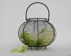 Round metal wire egg basket - French salad basket, Farmhouse antique french country kitchen decor, Mid century by FrenchTouchBoutique on Etsy