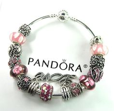 Authentic Pandora Silver bangle charm bracelet with European Charms love heart  #Pandorabarrellobsterbangleclaspclaw #European