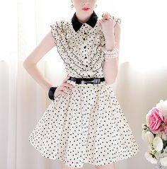 Beige black love printing Slim waist sleeveless dress put on a large multi-flounced_Cute dresses_Dresses_Mili fashion Trade Co.Ltd