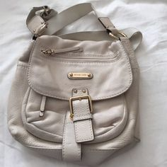 Michael Kors Austin Leather Crossbody/Saddlebag - Cream #MichaelKors #Unspecified