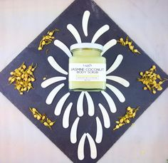 jasmine coconut body scrub. 100% natural organic ingredients and smells great.