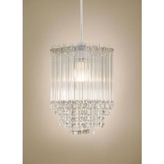Icicles Tiered Pendant - Clear Glass Beads - Chrome Finish homebase