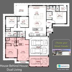Discover our entire range of Dual Occupancy House Plans designed for the Perth metro area . From Single storey studio's to custom granny flats attached to the main home. We offer Double Storey and house behind house special purpose duplex style designs. Guest House Plans, New House Plans, Dream House Plans, Small House Plans, Duplex Floor Plans, House Floor Plans, Next Gen Homes, Mother In Law Apartment, In Law House