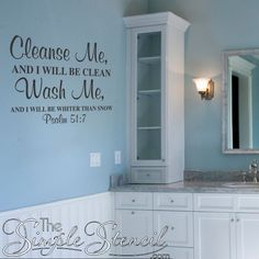 Who thought there could be a religious scripture wall quote for the bathroom? This Psalm 51:7 Bible verse is a popular choice for guest or church bathroom decor