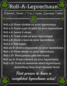 St. Patrick's Day 'Roll A Leprechaun' Game from oneshetwoshe.com