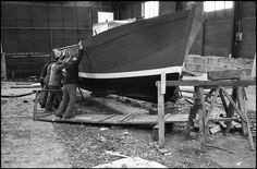Guy Le Querrec 1973. Brittany. South Finistere. Town of Camaret. A New Fishing boat...