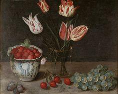 Νεκρή φύση με τουλίπες, φράουλες, σταφύλια και κεράσια