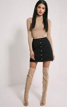 Cammie Black Denim Mini Skirt
