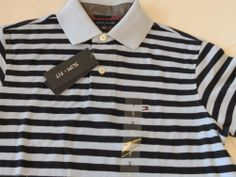 Men's Tommy Hilfiger Polo shirt stripe knit logo 7845165 Covington Blue XL Slim