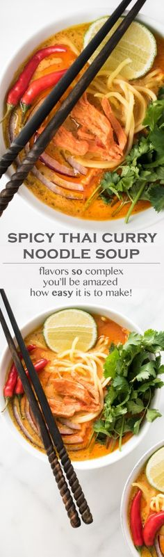 This Spicy Thai Curry Noodle Soup is rich, creamy, and packed with complex and bold flavors. One bite and you'll be truly amazed that this entire dish can be on the table in about 30 minutes.