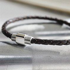 Men's leather plaited bracelet