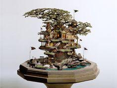 PARANOIA TRAINの日々-海外の「盆栽アート(BONSAI ART)」はジオラマ的!