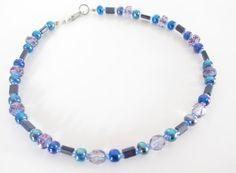 Blue beaded Anklet, Anklet Bracelet, Summer Jewelry, Ankle Jewelry, Blue and purple jewelry