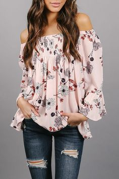 Strapless Smocked Bodice Floral Printed blouse for women chic blouse for women chic casual blouse for women chic style blouse for women chic shirts Look Fashion, Teen Fashion, Autumn Fashion, Fashion Outfits, Womens Fashion, Fashion Trends, Floral Fashion, Dress Fashion, Latest Fashion