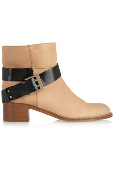 Textured-leather ankle boots by Chloé