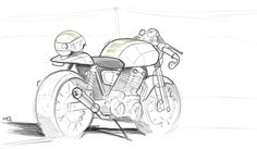 sketch of a cafe racer