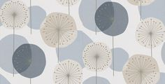 Eco Revival (5659) - Eco Wallpaper Wallpapers - Stylised dandelion clocks in contemporary shades of blue with silver highlights. Paste-the-wall product.