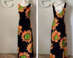 Vintage 90s Sunflower Dress 1990s Grunge Sun Dress Maxi Dress Sexy Lace Up Corset Back Brooklyn NY Hipster Festival Clueless Dress Med