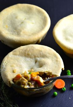 Vegan Pot Pie - Easy & Quick Vegan pot pies with rainbow carrots and white wine topped with a comforting olive oil crust.