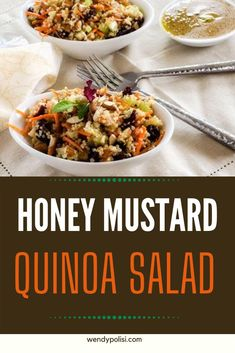 This easy to make Honey Mustard Quinoa Salad is packed with flavor! Crunchy celery and almonds paired with sweet cranberries make for a delicious vegan quinoa salad. Quinoa Recipes Easy, Vegetarian Salad Recipes, Healthy Gluten Free Recipes, Easy Dinner Recipes, Healty Dinner, Dinner Salads, Greek Quinoa Salad, Side Salad, Honey Mustard