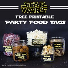 "Star Wars food ideas! 25 cool ideas like: 'Wookie Cookies"" and ""7 Leia Dip"" Plus they have free printable tags for all of them!"