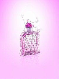 Miss Me, Stella Cadente - Parfums pour Noël 2006 - Un parfum sensuel et moelleux, aérien et coquin, bouquet de fleurs fraîches qui séduit les belles affranchies. Son flacon bijou en tenue de fête, manchette/maillage, serrera...