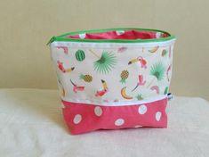 Trousse de toilette fille rose pois et motif tropical toucan ananas pastèque