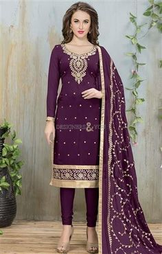 #Shop This Delightful Purple #Punjabi #Straight #Suit With #Embroidery #Work. This #Boutique #Style #Georgette #Dress Has Sweetheart Neckline, Full Sleeves & Embroidery. #Designers#And#You