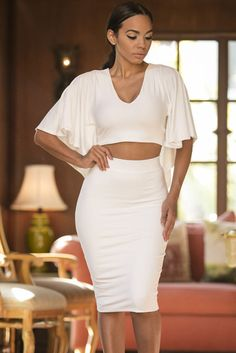White Cape Style Cropped Top with Midi Skirt