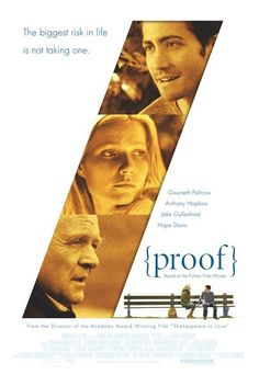 Directed by John Madden.  With Gwyneth Paltrow, Anthony Hopkins, Hope Davis, Jake Gyllenhaal. The daughter of a brilliant but mentally disturbed mathematician, recently deceased, tries to come to grips with her possible inheritance: his insanity. Complicating matters are one of her father's ex-students who wants to search through his papers and her estranged sister who shows up to help settle his affairs.
