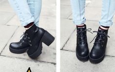 Vintage Style Chunky Heeled Boots