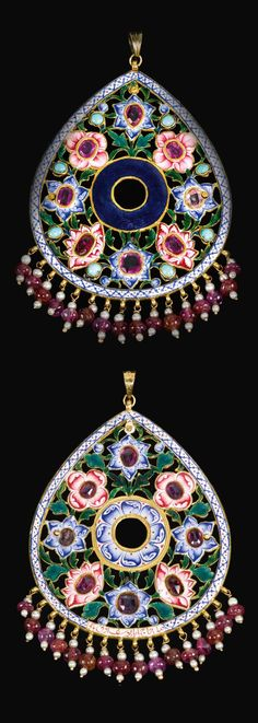 Persia | Qajar pendant; gold, enamel, fringe seed pearl and bead elements | ca. 1st half of the 19th century | Est. 3'000 - 5'000£ ~ Oct '15